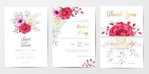 Romantic flowers wedding invitation cards template set