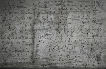 Maths and science sketches on a wall: creativity, ideas and science background