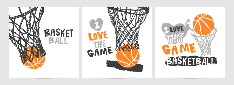 Collection of hand-drawing basketball designs on a white background, grunge style, sketch, lettering, hoop. Sports print, slogan.
