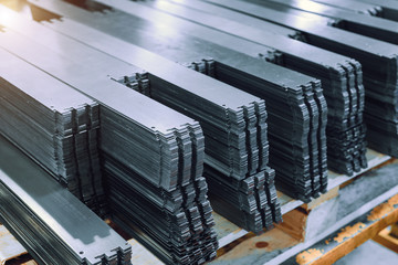 Metal plates after processing on die-cutting press