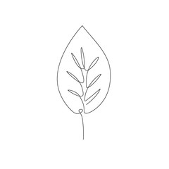 leaf one line drawing. Continuous line. Hand-drawn minimalist illustration, vector.