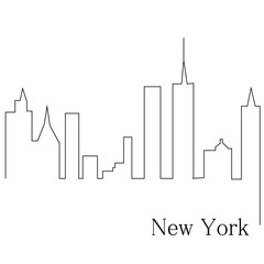 New York one line drawing. Continuous line. Hand-drawn minimalist illustration, vector.