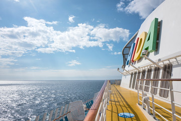 NORTH SEA - June 5, 2017: AIDA logo at the funnel of cruise ship AIDAsol. AIDA Cruises is one of ten brands owned by Carnival Corp.