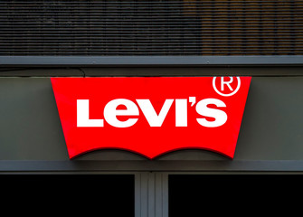 Detail of the Levi Strauss & Co. shop in Catania. Levi's company was founded in 1853 and now have more than 2,800 company-operated stores.