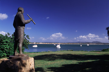 Statue on the Cooktown foreshore commemorates the visit by Captain Cook.