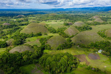 Aerial drone view of the unique scenery of the Chocolate Hills landscape in Bohol, Philippines
