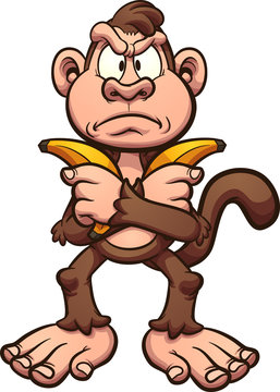 Angry cartoon monkey holding a couple of bananas across it's chest clip art. Vector illustration with simple gradients. All in a single layer.