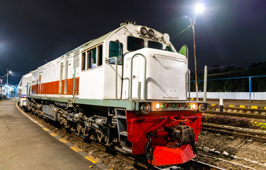 Passenger train at Malang station in Indonesia