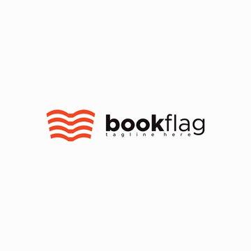 book flag logo design unique