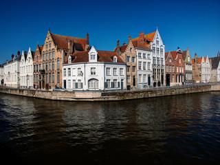 Aluminium Prints Bridges Belgium, Brugge, West Flanders, Canal Scene with homes and Bridge