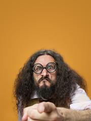 Printed kitchen splashbacks Artist KB Cloesup portrait of a freaky nerd