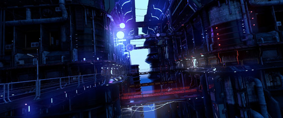 Fotomurales - 3D illustration of a futuristic city in a cyberpunk style. Industrial landscape with bright neon lights. Gloomy urban cityscape with huge futuristic buildings.