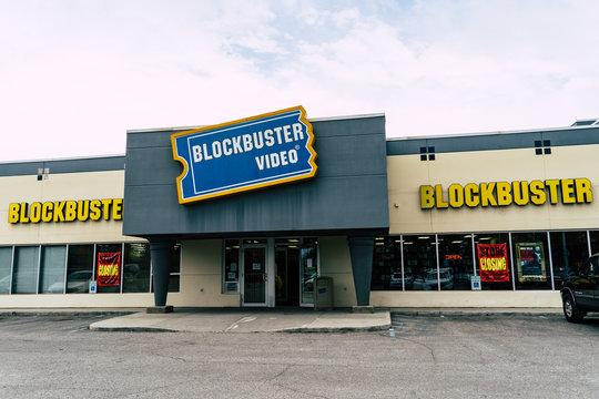 AUGUST 12 2018 - FAIRBANKS ALASKA: Exterior sign of a closing Blockbuster video in its final liquidation days.