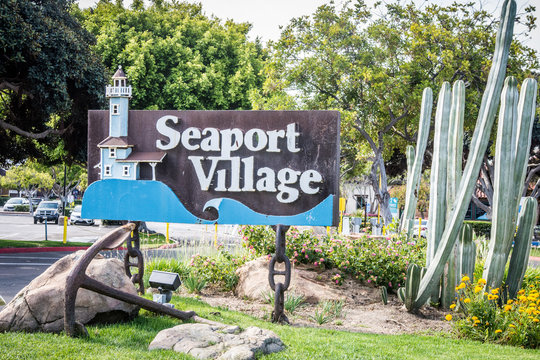 MAY 15 2019 - San Diego, CA: Sign for Seaport Village, a shopping center, welcomes visitors