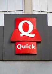 Detail of Quick restaurant in Charleroi, Belgium. Quick is a chain of hamburger fast food restaurants headquartered in Antwerp, Belgium.