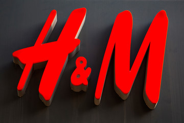 Detail of the H&M store in Charleroi, Belgium. H&M is a Swedish multinational retail-clothing company founded at 1947.