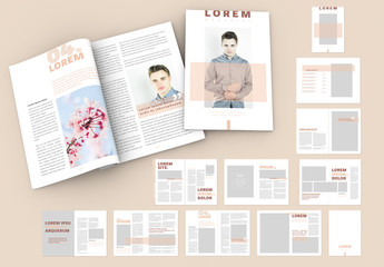 Magazine Layout with Peach and Dark Red Accents