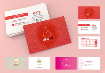 Business Card Layout Set with Beverage Illustration Elements