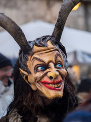 Krampuslauf or Perchtenlauf during advent in Munich, an old tradition taking place during Christmas in the Bavarian Alps, Austria and South Tyrol, Germany.