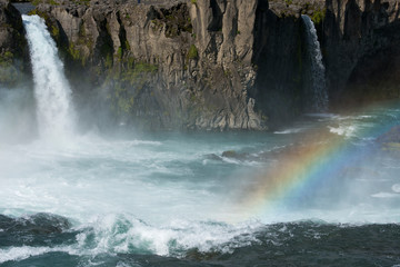 Printed roller blinds Waterfalls Iceland, Myvatn District off the Ring Road, Northeast Region. Skjalfandafljot River, Godafoss waterfall with rainbow, the most popular waterfall in Iceland.