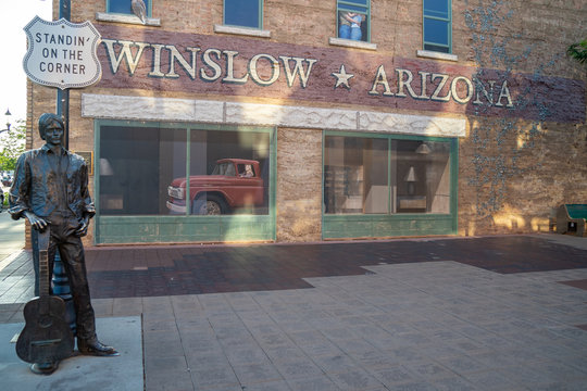 JULY 1 2018 - WINSLOW, AZ: Statue of Jackson Browne from The Eagles - Standin On The Corner in Winslow Arizona