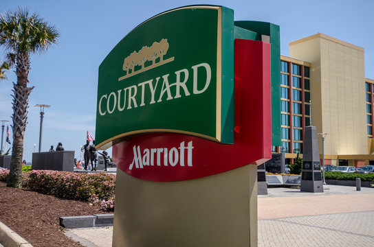 Sign for the Courtyard by Marriott hotel - Virginia Beach, VA - May 20, 2019