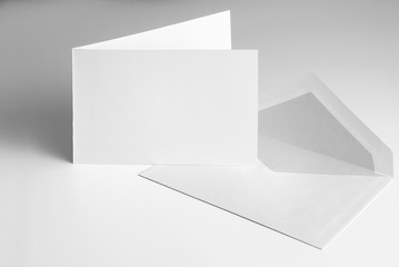 Blank open standing greeting card and envelope