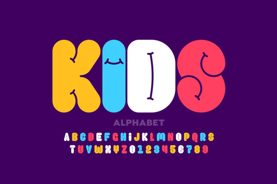 Kids style font design, alphabet letters and numbers