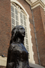 The Netherlands (aka Holland), Amsterdam. Anne Frank House & Museum. Statue of Anne Frank in front of Westerkerk.