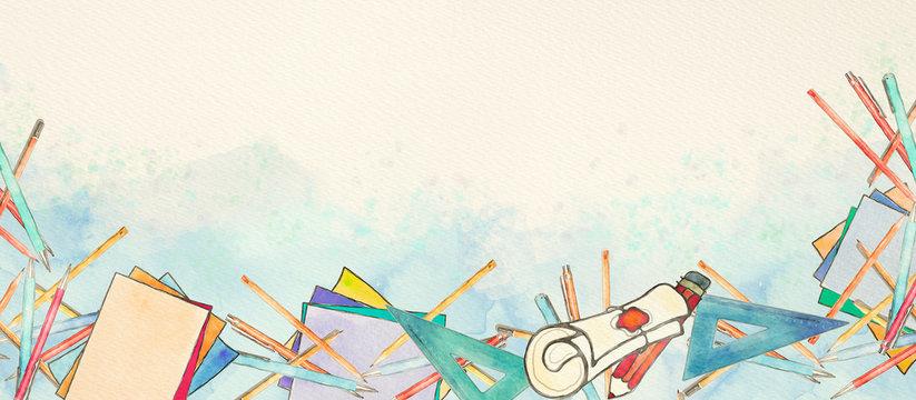 Watercolor school banner