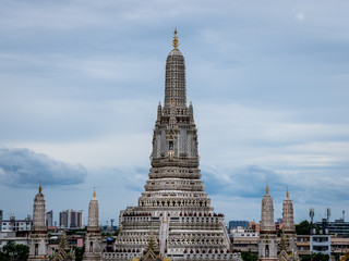 Buddhist Temple Wat Arun Ratchavararam or temple of the dawn monument near the grand palace in bangkok
