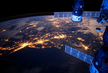 Planet earth at night from space. From Europe and Africa. Elements of this image were furnished by NASA