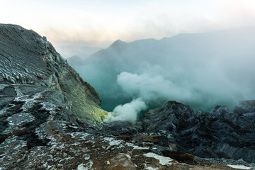 Actvie Ijen volcano in East Java