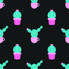 Succulents and cacti plants seamless pattern on a black background