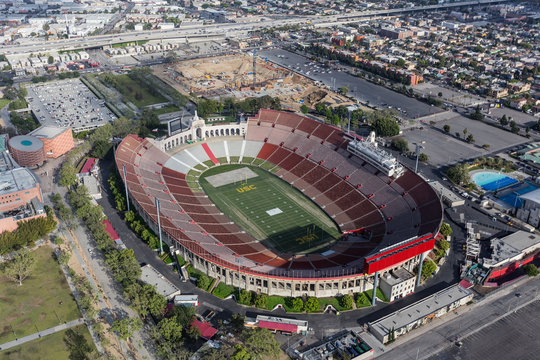 Aerial view of the historic Coliseum stadium near downtown and USC on April 12, 2017 in Los Angeles, California, USA.