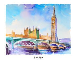 Obraz ręcznia malowany przedstawiający Westminster i Big Ben w Londynie