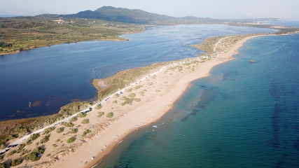 Aerial drone photo of iconic lake of Korission a natural preserve and beach of Halikounas, Corfu island, Ionian, Greece