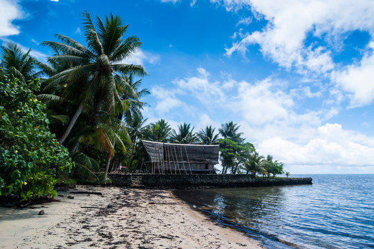 Traditional thatched roof hut, Yap Island, Micronesia
