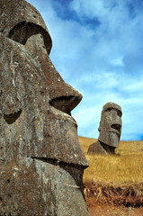 Chile, Easter Island. Pensive are the expressions on the moai at Rano Raraku on Easter Island, a World Heritage Site.