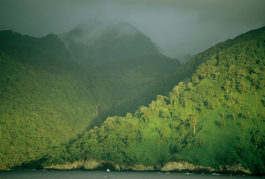 Cocos Island National Park, sunset on forest-lined cliffs, Costa Rica.