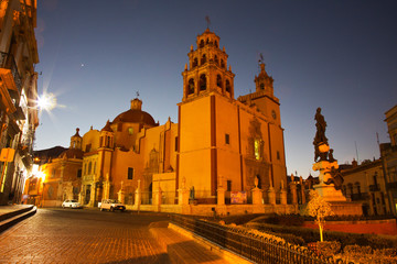 Mexico, Guanajuato, Basilica Colegiata de Nuestra with it's colorful Yellow
