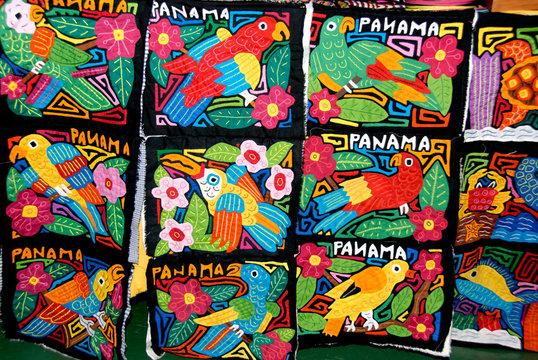 Central America, Panama, Cristobal. Kuna Indian traditional molas.