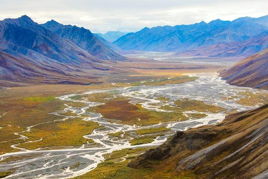 USA, Alaska, Brooks Range, Arctic National Wildlife Refuge. Aerial with mountains and Ivishak River. Credit as: Don Paulson / Jaynes Gallery / DanitaDelimont.com