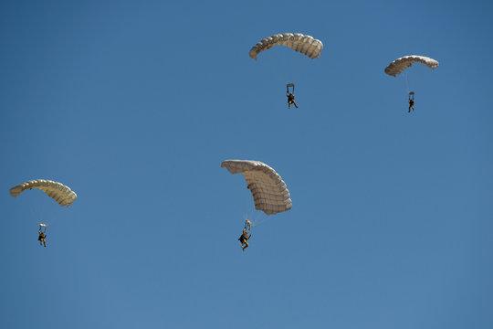 USA, Arizona, Eloy, group of people skydiving
