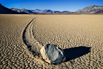 USA, California, Death Valley National Park. Mysterious sliding rock on Racetrack.