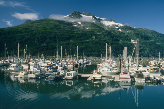 USA, Alaska, Boat Harbor, Whittier, Gateway to Prince William Sound.