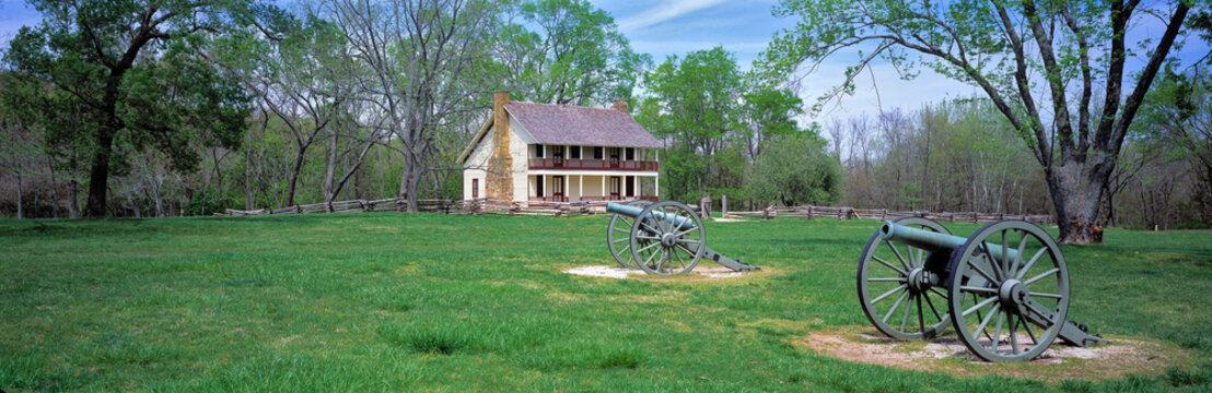 USA, Arkansas, Pea Ridge NMP. Elkhorn Tavern at the Pea Ridge NMP in Arkansas, has been reconstructed to resemble the original building.
