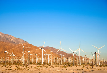 Palm Springs, CA, USA. View of wind turbines in the desert under a clear blue sky.