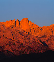 USA, California, Mt Whitney. The spires of Mt. Whitney, California glow in the morning light