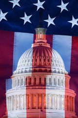 USA, Washington, DC. Digital composite of American flag superimposed over US Capitol building.